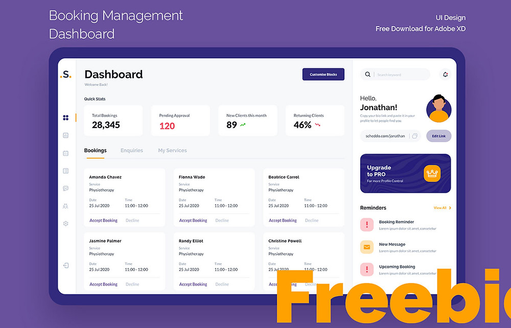 Attractive & vibrant booking management dashboard which can be used on many of your projects