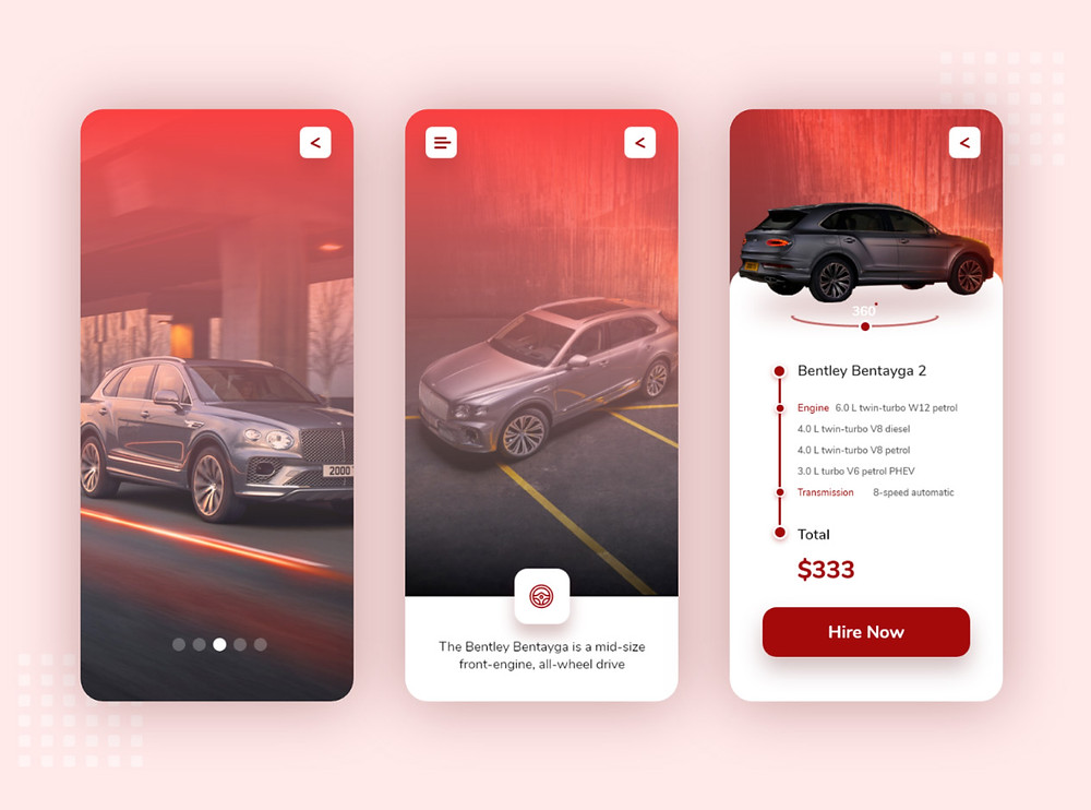 Premium app with flawless graphics that offers car hire services for users