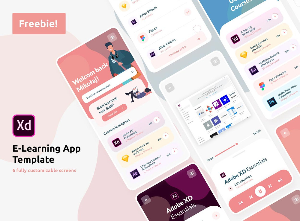Fantastic theme for e-learning app with a trendy elegant design free ui kit