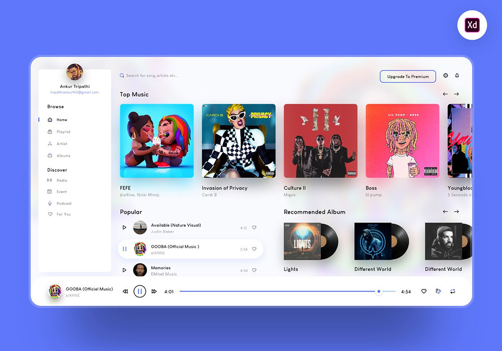 Music player web app template for Adobe XD with professional & vibrant style
