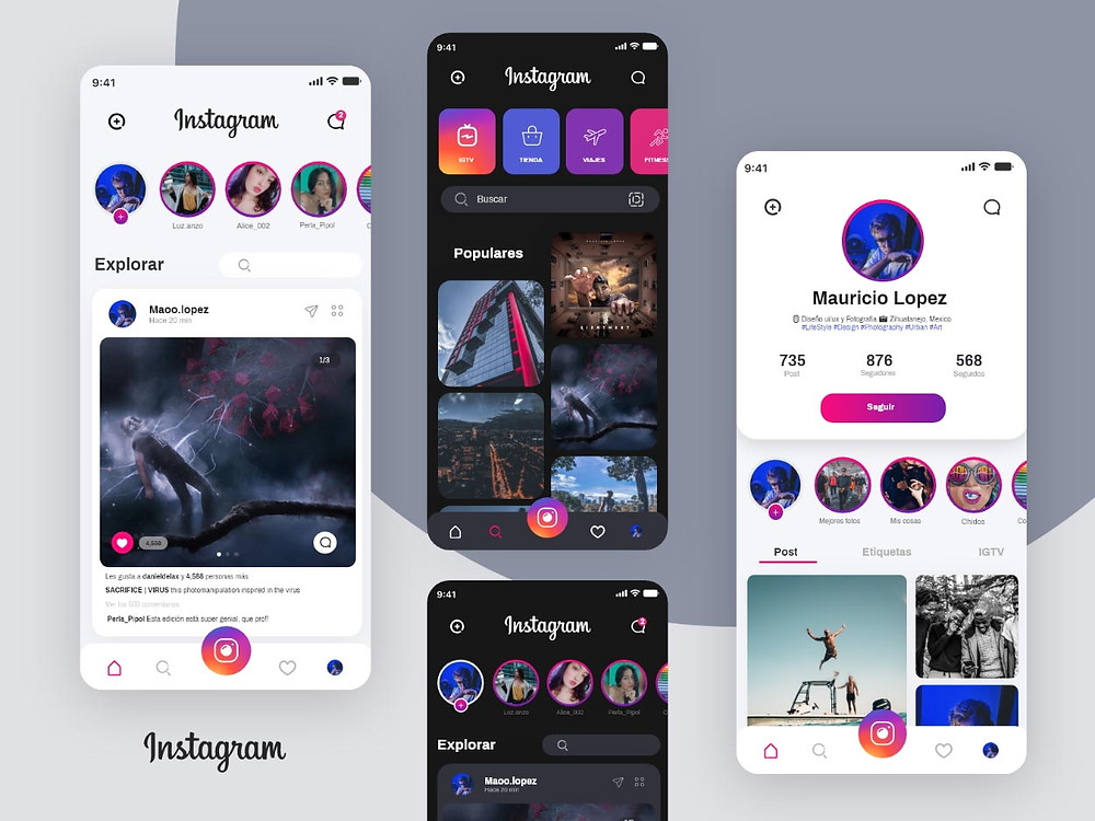 A nice cool redesign concept template of Instagram UI dark mode and light version