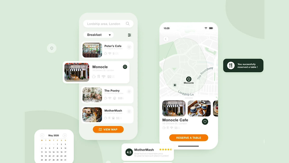 Free app for car sharing that helps you find a cafe or restaurant near your location