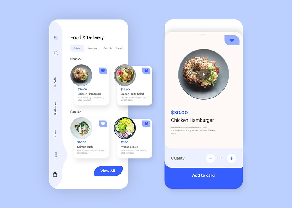 Download this template if u want a fancy food delivery app design resource for your next project