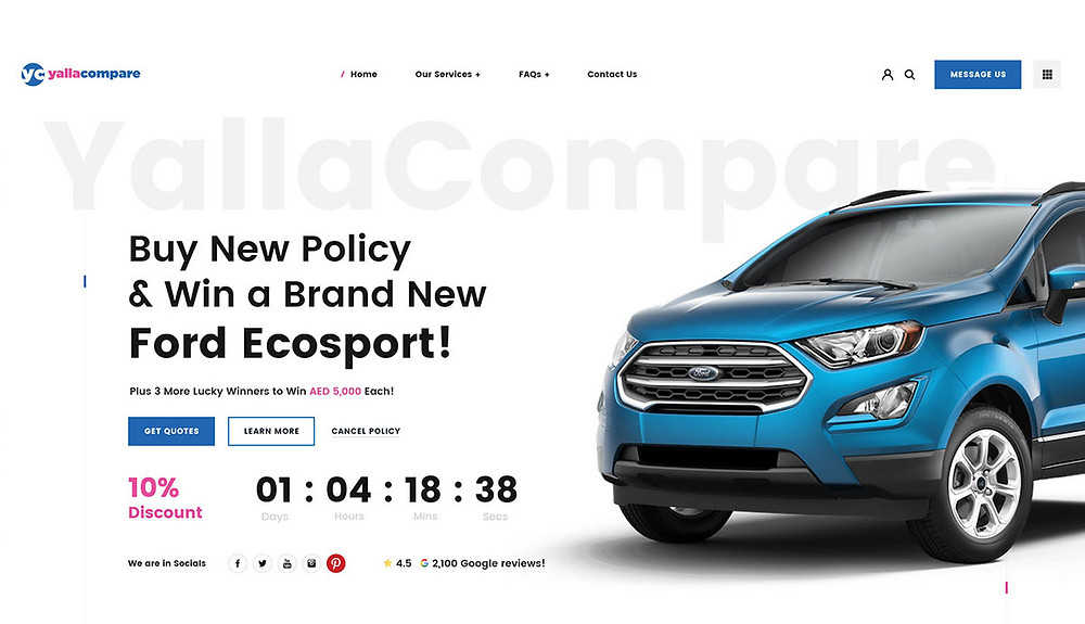 A free XD car insurance website template that allows you to select the right new policy and insurance with expert supports
