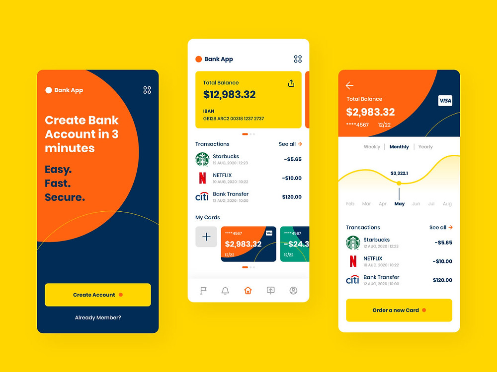 A sleek and colorful banking mobile app XD template that you can use as a great source of inspiration