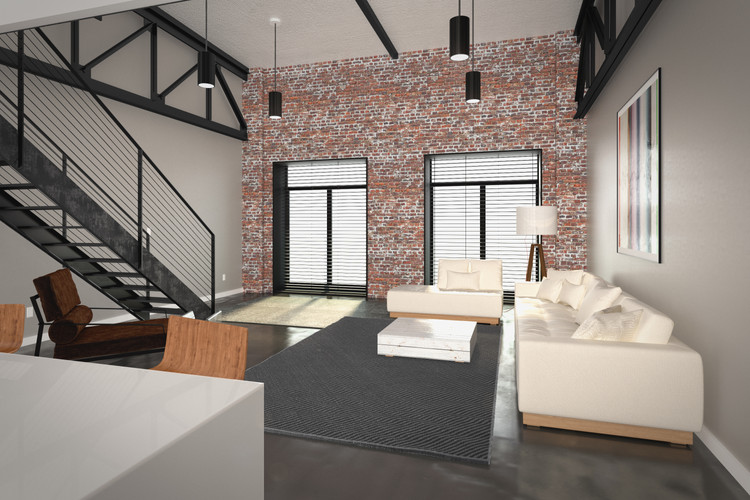 View From Kitchen To Living Room - Exposed Brick