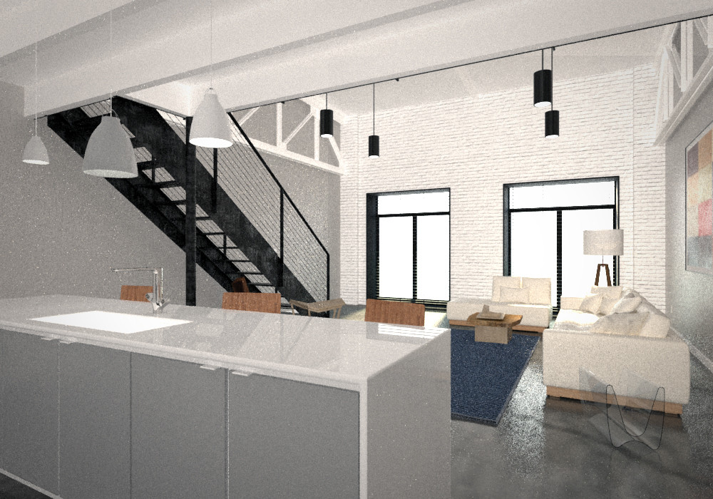 Chattanooga Loft Living Room Painted Brick