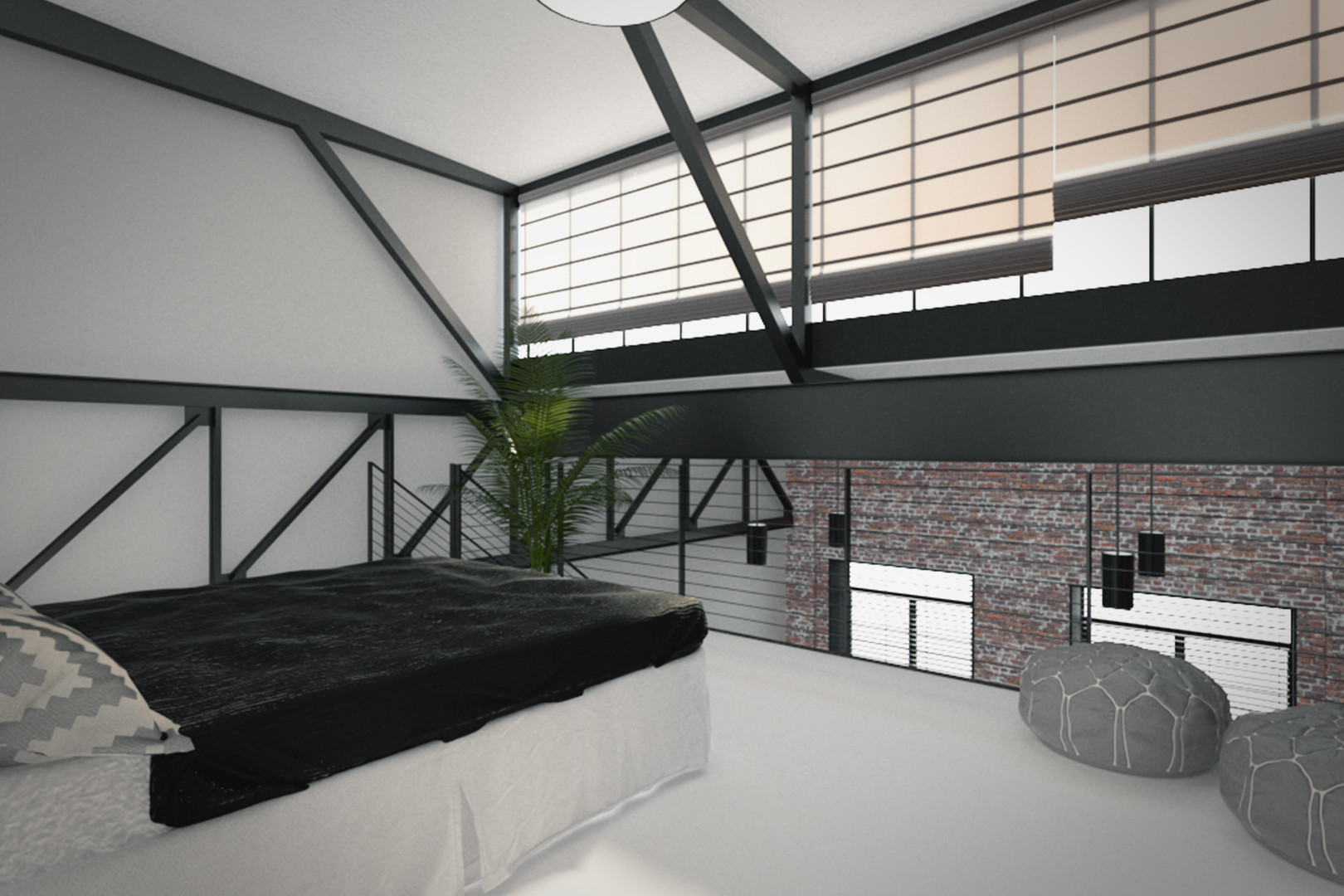 View From Mezzanine Bedroom to Living Room