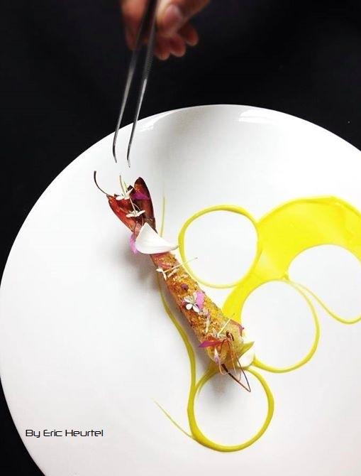 unchefdansmacuisine.salt.ericheurtel grosse crevette rotie croustillante, creme de carotte jaune au