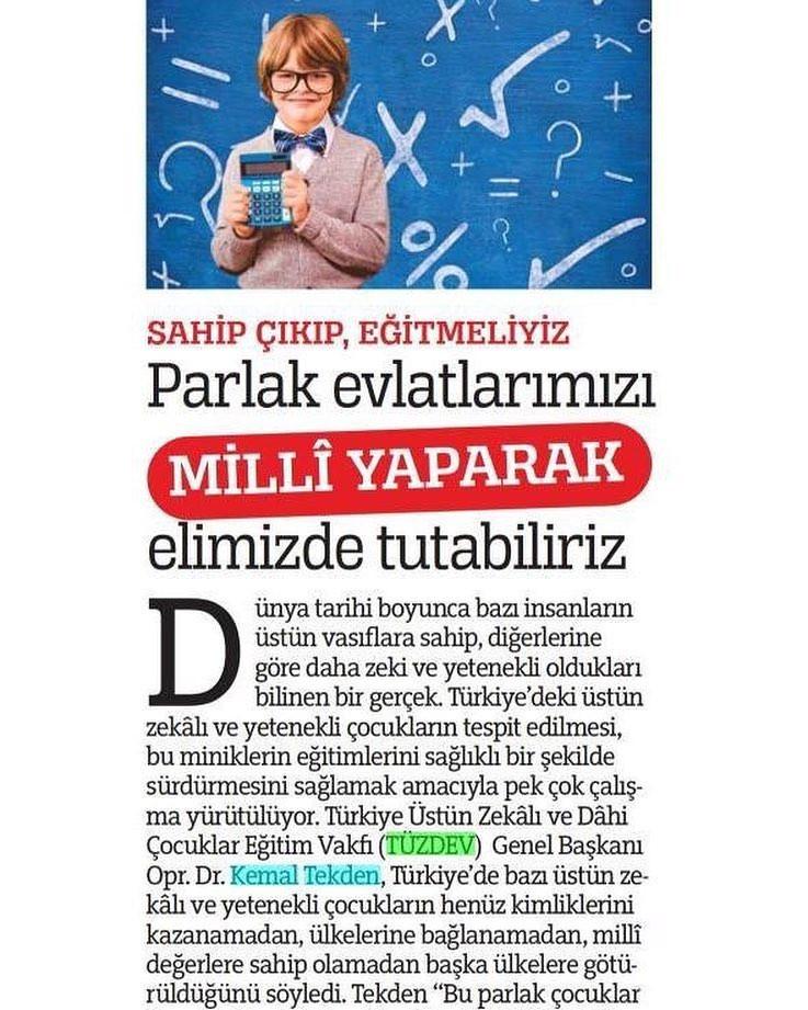 TÜZDEV Yönetim Kurulu Başkanı Dr. Kemal TEKDEN, Parlak Evlatlarımızı Milli Yaparak elimizde tutabiliriz, sahip çıkıp eğitmeliyiz açıklamalarında bulundu.