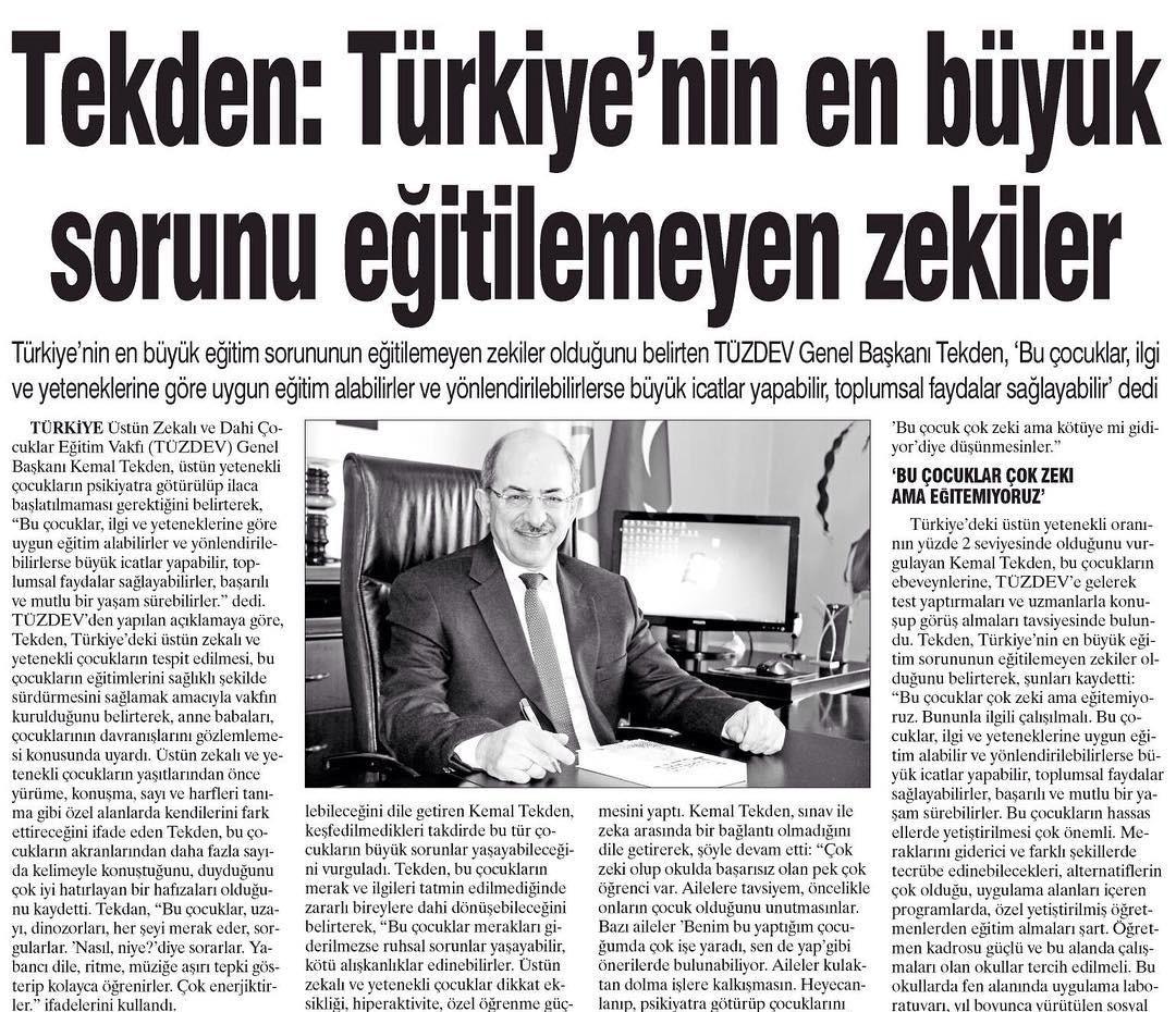 """TÜZDEV Basında! """"Türkiye'nin en büyük sorunu eğitilmeyen zekiler."""""""