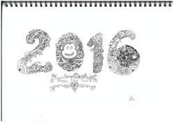 a. Happy 2016 (sentangle art)