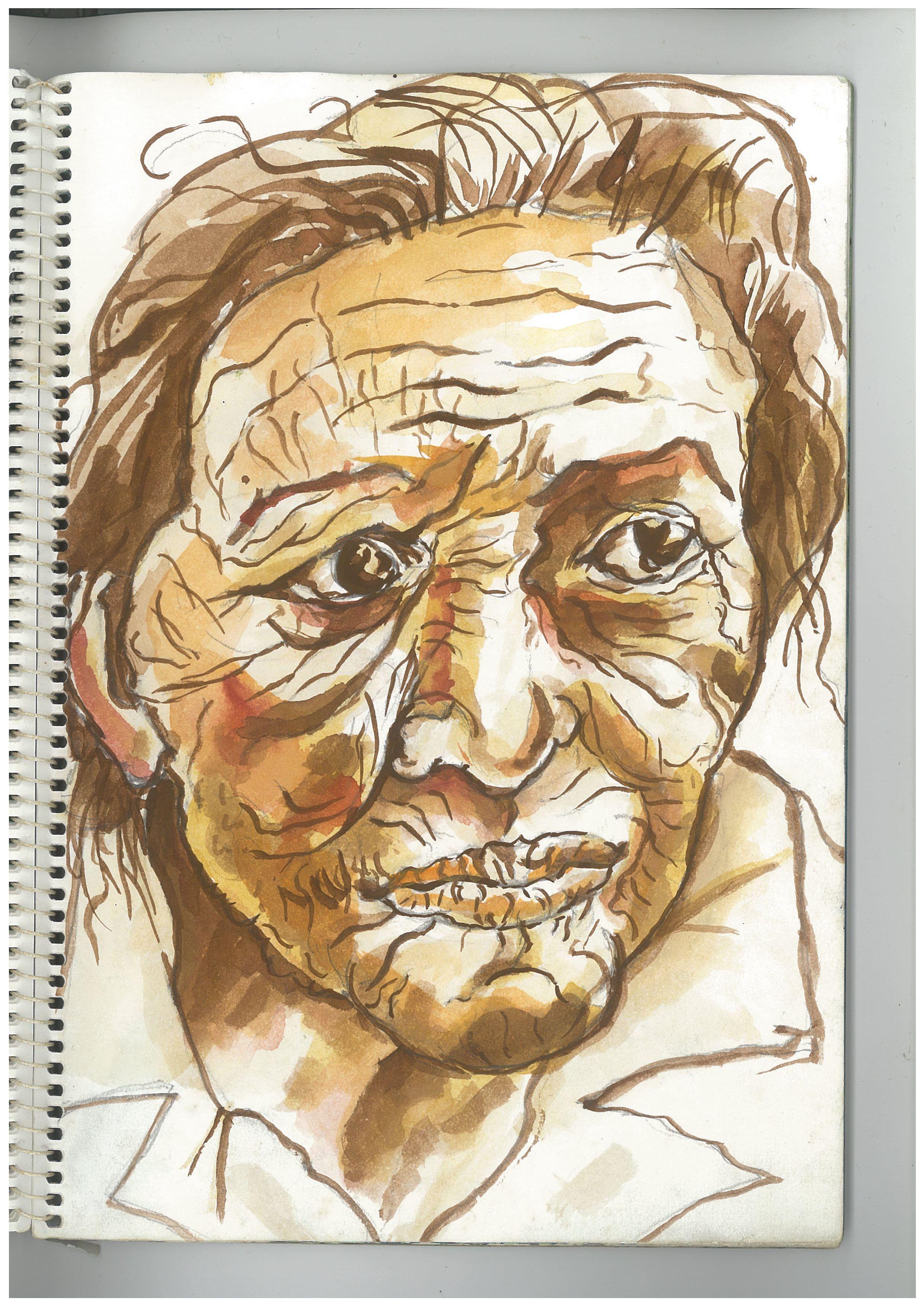 k. monochrome old woman