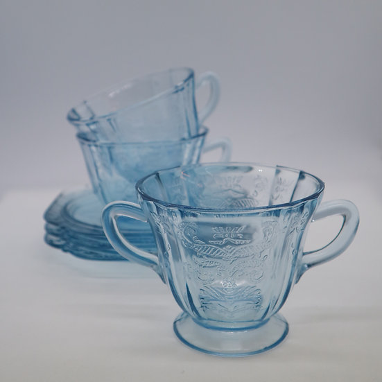 Federal Madrid Depression Glass Cup and Saucer set of 2