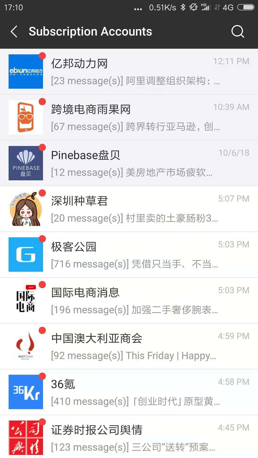 A list of WeChat subscription accounts