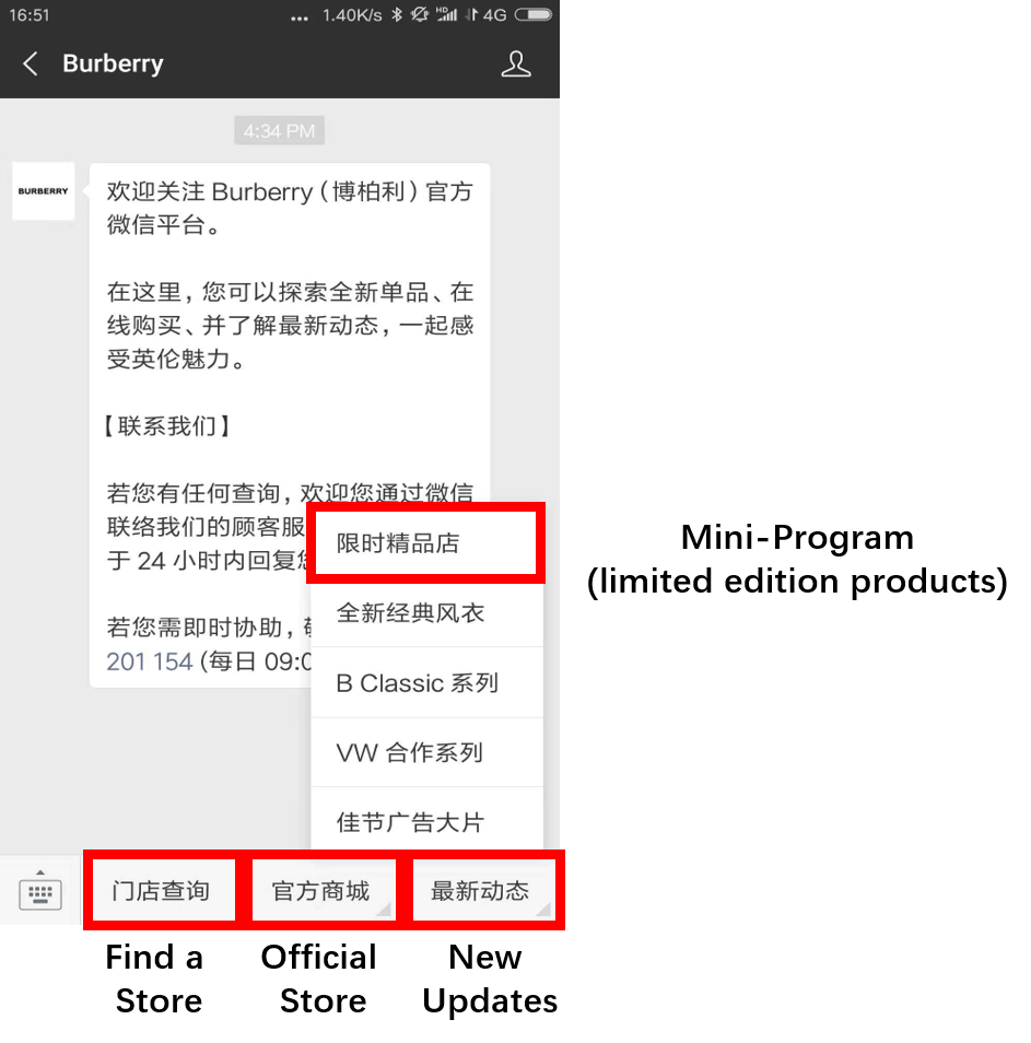 A diagram of Burberry's WeChat official account