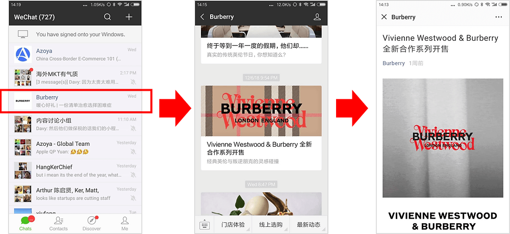 Burberry WeChat Official Account Diagram
