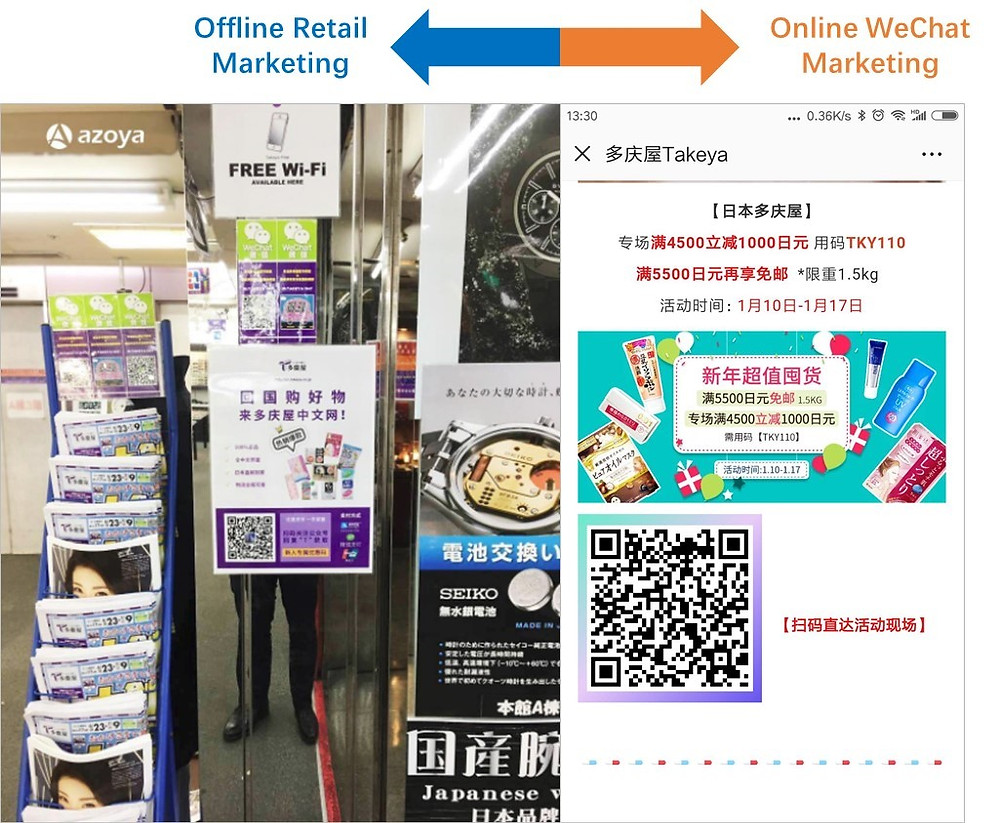 Customers can scan QR codes to follow Takeya's WeChat account; Source: Azoya Group