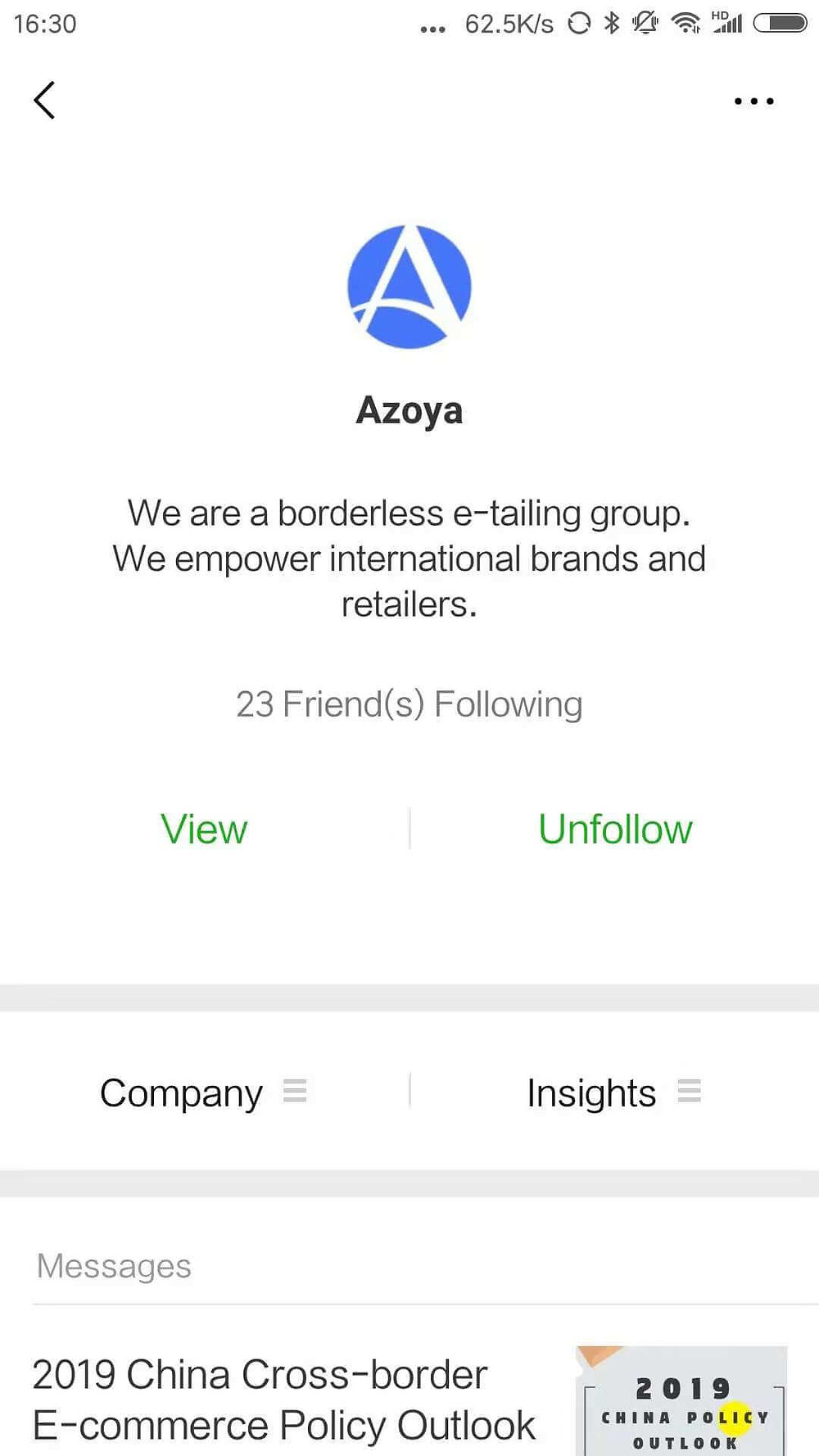 Azoya's WeChat official accout