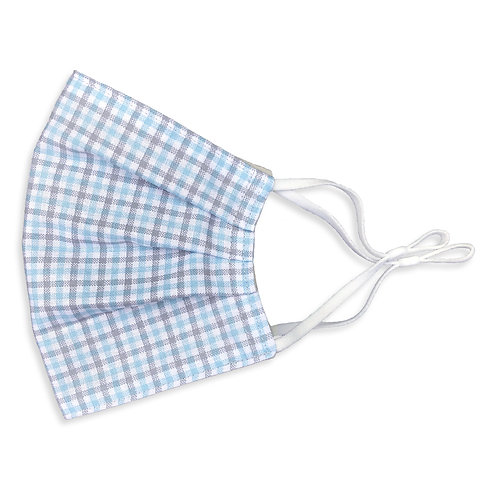 Two Layer Face Mask - Blue and Gray Plaid