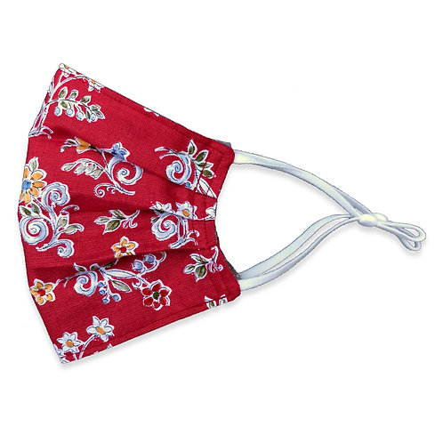 Two Layer Face Mask - Country Red Floral
