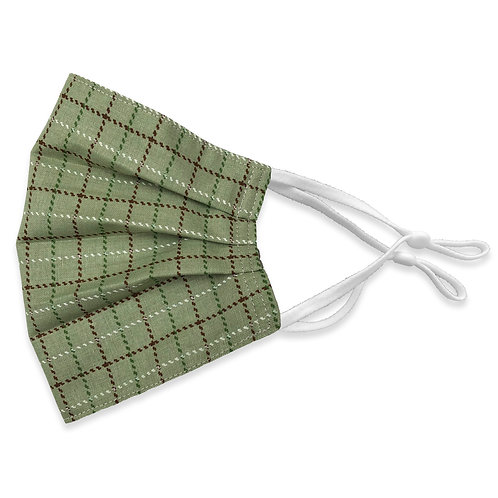 Three Layer Face Mask - Olive Plaid and Chocolate