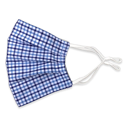 Two Layer Face Mask - Blue Plaid