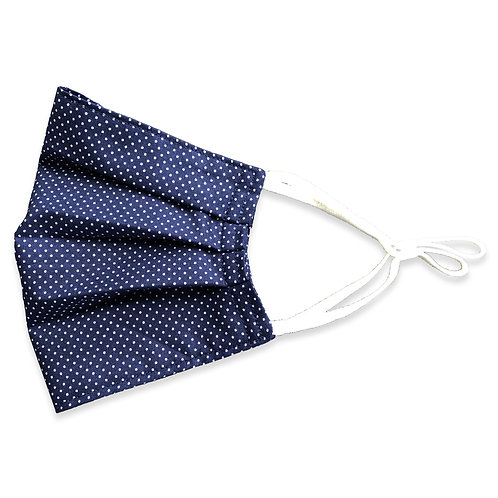 Two Layer Face Mask - Navy with Pin Dots