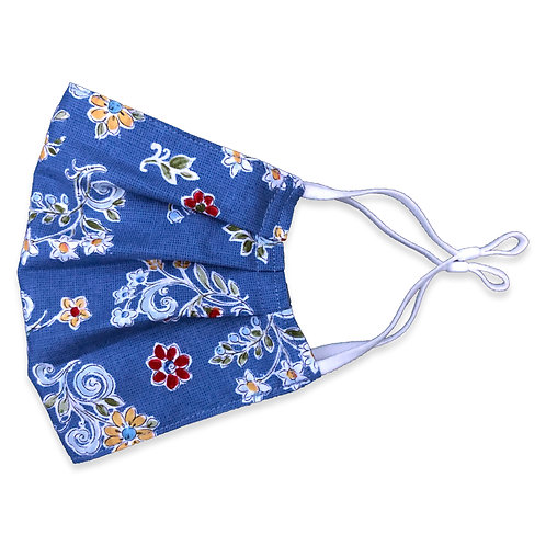 Two Layer Face Mask - Country Blue Floral