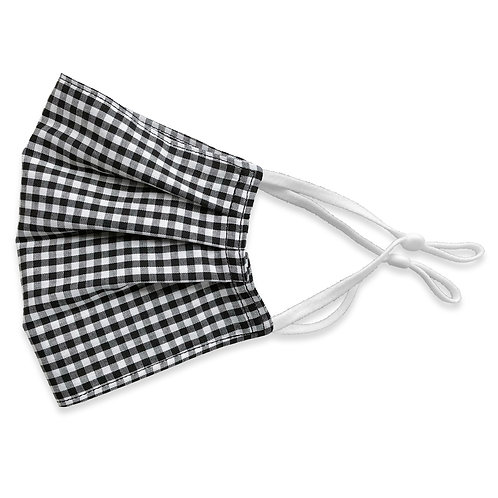 Two Layer Face Mask - Black and White Gingham Plaid