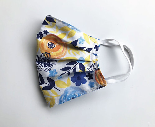 Cotton Face Mask - Old Gold and Blue/Trellis