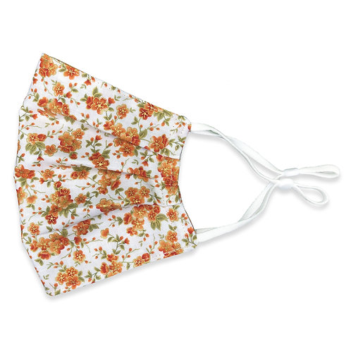 Three Layer Face Mask - Burnt Orange Flowers and Plaid