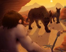 Caveman Vs. Cave Hyenas
