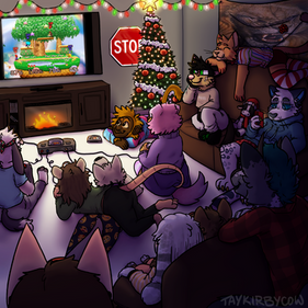 Furry Friends Celebrating Christmas