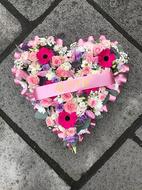 Pink mixed flower heart