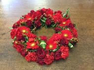 Red mixed flower open wreath