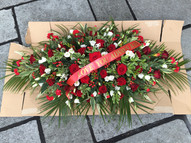 Large red rose and white top spray