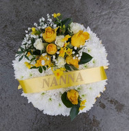 Based posy with a yellow corsage
