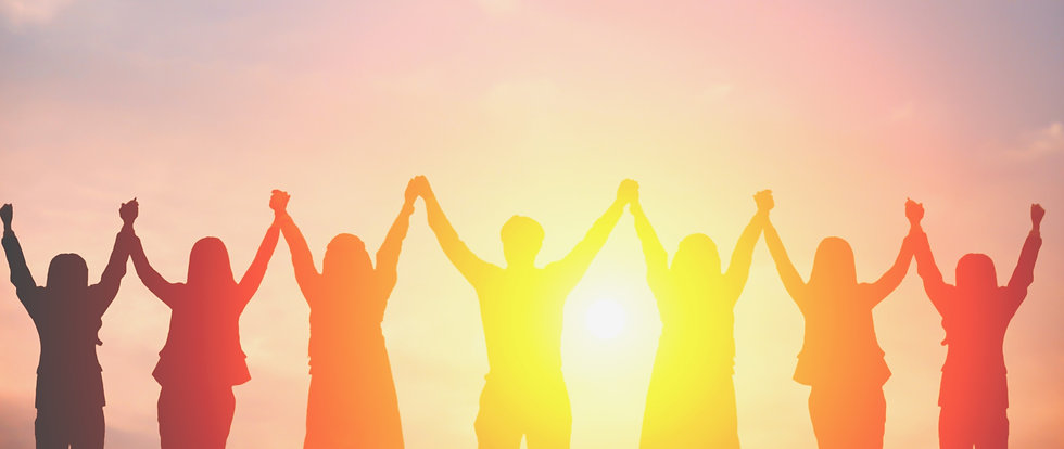 Copy of Silhouette of happy business team making high hands in sunset sky background for b