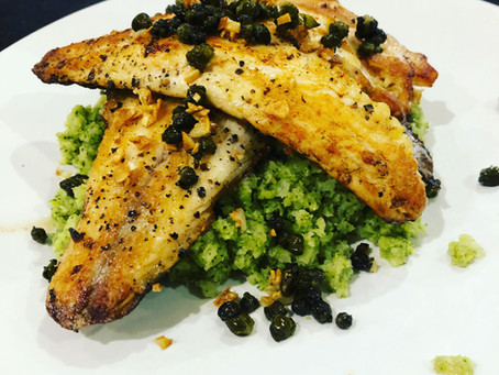 Pan Fried Sea Bass and Broccoli Mash (Serves 2)