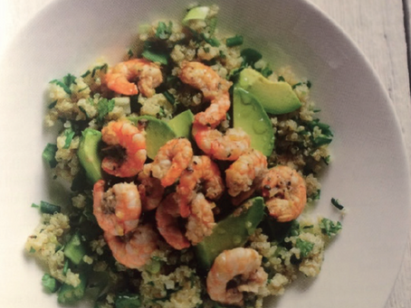 Jerk Prawn with Avocado Quinoa
