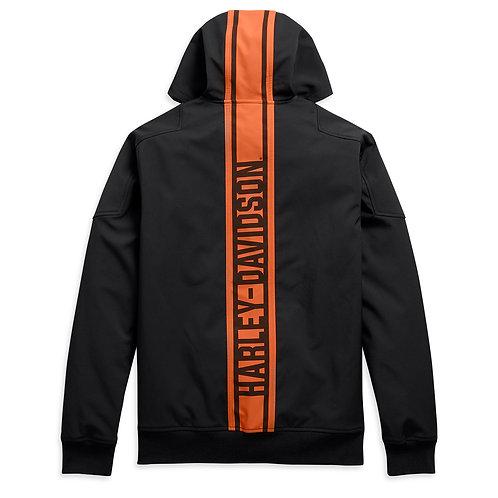 Vertical stripe hooded stretch jacket