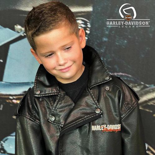 Harley-Davidson® Little Boys' Upwing Eagle Biker Pleather Jacket Black