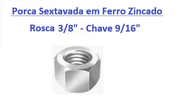 """Porca Sextavada 3/8"""" Chave 9/16"""" em Ferro Zincado - 100 peças"""