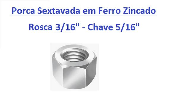 """Porca Sextavada 3/16"""" Chave 5/16"""" em Ferro Zincado - 200 peças"""