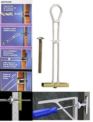 """Bucha Toggler para Drywall+Parafuso 1/4"""" x 5cm - Pacote com 5 peças"""
