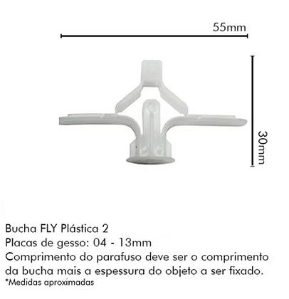 Bucha Fly 2 (furo 10mm) P/bases Ocas, Gesso e Drywall - Pacote com 25 peças