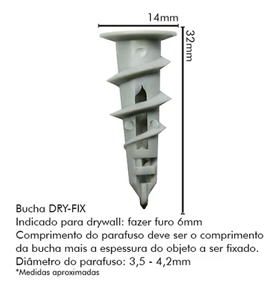 Bucha DryFix (furo 06mm) P/bases Ocas, Gesso e Drywall - Pacote com 25 peças