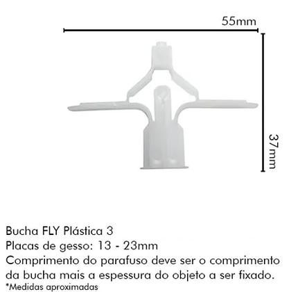 Bucha Fly3  (furo 10mm) P/bases Ocas, Gesso e Drywall - Pacote com 25 peças