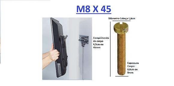 Parafuso P/Tv M8x45 Cabeça Cilindrica Chave Fenda Simples Bicrom (4 unidades)